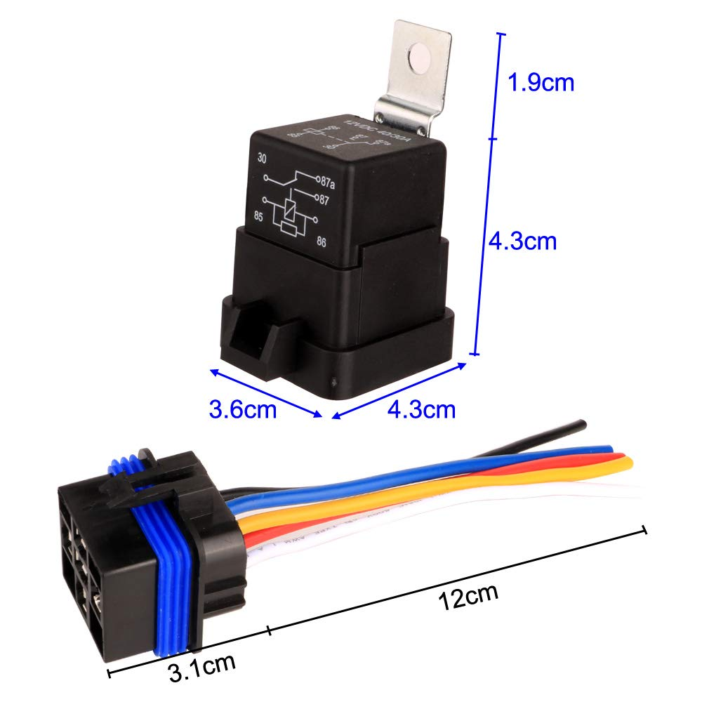 12V DC 5-Pin SPDT Automotive Relays 14 AWG Hot Wires Gebildet 40//30 Amp Waterproof Relay Switch Harness Set