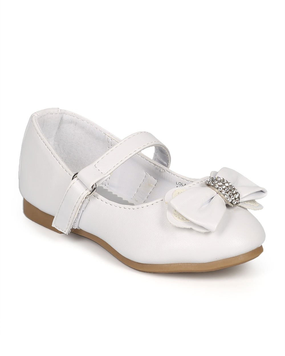 Leatherette Round Toe Rhinestone Bow Ballet Flat (Toddler/Little Girl/Big Girl) CI54 - White Leatherette (Size: Toddler 9)