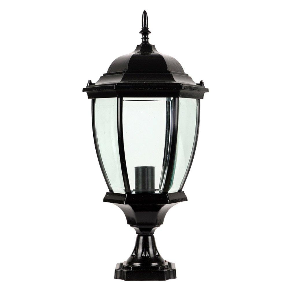 CGJDZMD Column Lamp Outdoor Villa Luxury Artisans Post Lamp Simple Parliament Pillar Waterproof Wall Lamp Rust-Proof Aluminum Metal Pillar Lamp Pavilion Garden Path Light (Color : Black)