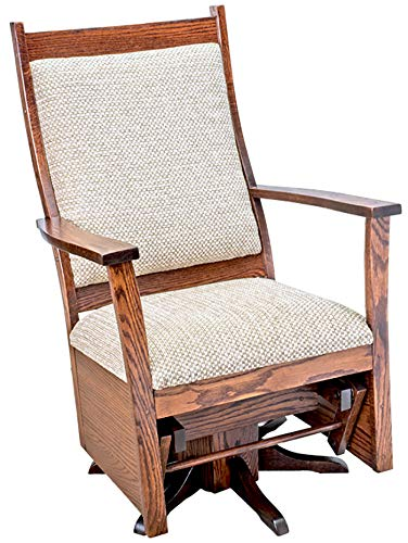 Rustic Upholstered Swivel Glider - Oak in Michael's Cherry Stain - Amish Made in The USA ()