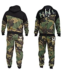 New Mens Boys Designer Zipped Top Bottoms Jogging Suits Tracksuits S-XL-Khaki-XL