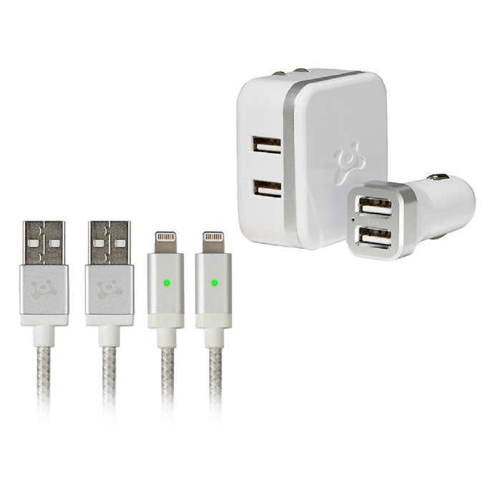Ubio Labs high Speed Lightning cable kit for iPhone/iPad/iPod. Long six foot (6') braided charge/sync cord with dual Full Speed USB wall and car charger 4.8A (24W) for fast charge Led Indicatcator