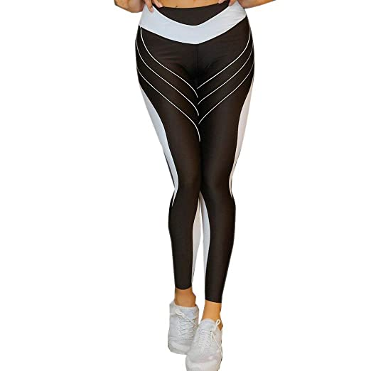 574092f894597 Amazon.com: Women Yoga Leggings, Sports Gym Yoga Workout Mid Waist Running Pants  Fitness Elastic Leggings: Clothing