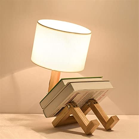BAYCHEER Modern Robot Table Lamp Special Adjustable Night Light DIY Light  Arm Wooden Bedside Lamp Creative Home Decor with Fabric Shade, White - -  Amazon.com