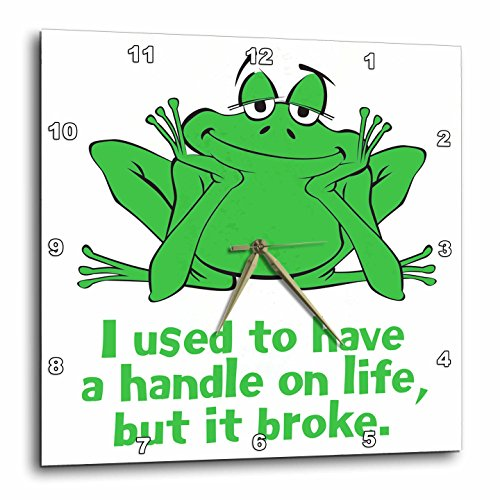3dRose Happy Frog with Handle on Life - Wall Clock, 10 by 10-Inch (Desk Plates Frogs)