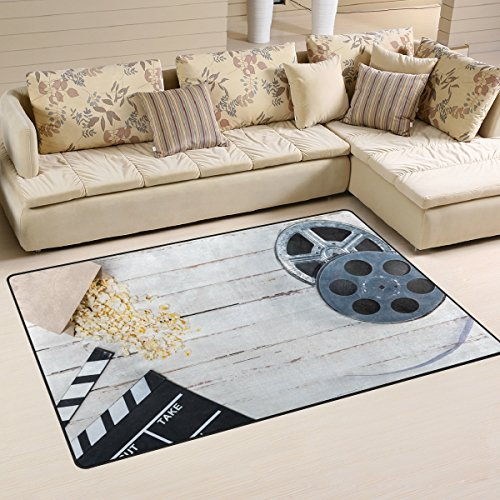 WOZO Film Reel Movie Clapper Wheel Wooden Area Rug Rugs Non-Slip Floor Mat Doormats Living Room Bedroom 60 x 39 inches