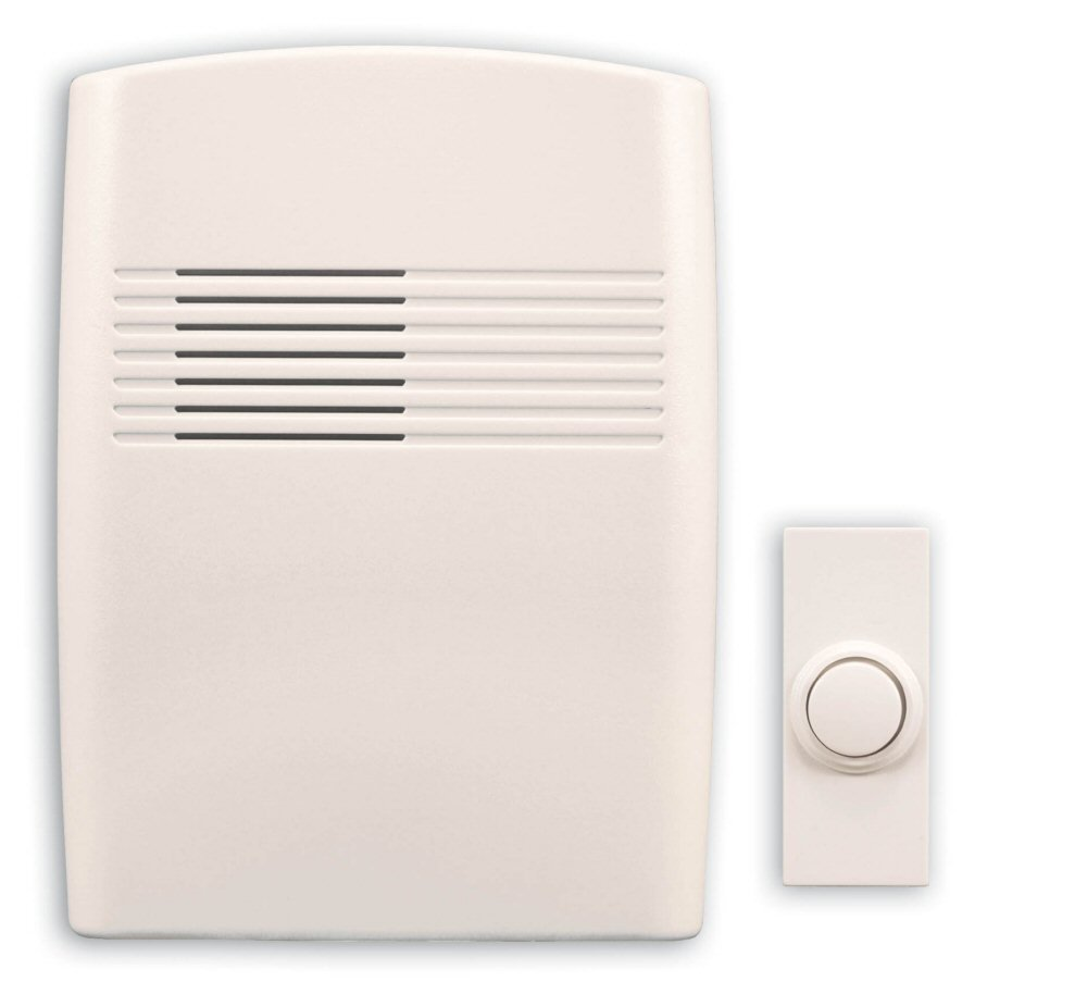 Heath Zenith SL 7753 02 Wireless Battery Operated Door Chime with Plastic Chime Cover Off White