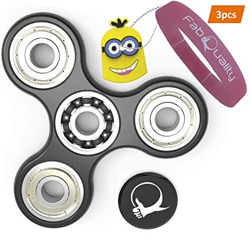 fabquality Fidget Spinner Anti-Anxiety 360 Spin with eBook + Minion Key Chain, ADHD Relieves Stress, Autism, Anxiety and Relax for Children and Adults EBOOK is Sent by email