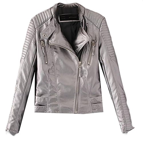 Papijam Women's Stand Collar Zipper Metallic Faux Leather Moto Jacket Gray - Jacket Metallic Leather Motorcycle
