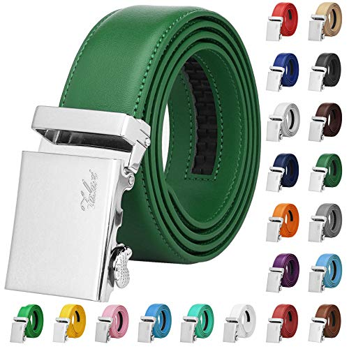 Falari Men Unisex Genuine Leather Ratchet Dress Belt Automatic Sliding Buckle - 20 Variety Colors - Trim to Fit (8170 - Dark Green, XL - Fit from waist 28 to 42
