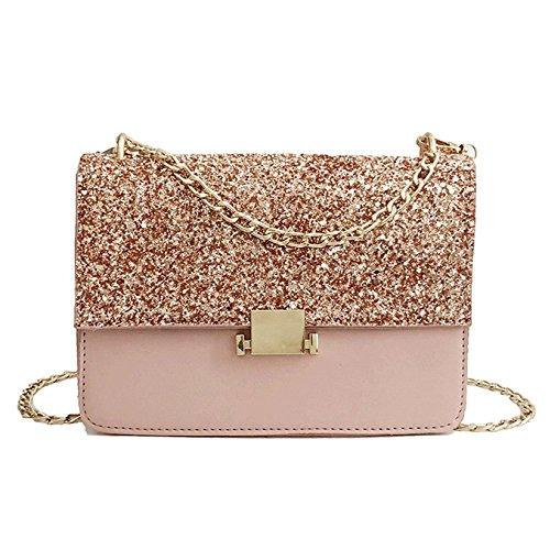Womens Sequins Crossbody Bags Summer PU Chain Hombro Embrague Messenger Bag Monederos Lock Hebilla Prom Bolsa De Noche Pink