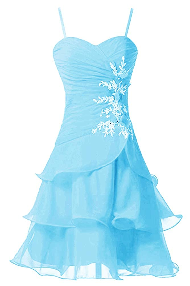 bluee Victoria Prom Women's Strap A Line Short Bridesmaid Dress Prom Party Gowns Sweet Homecoming Dress
