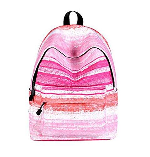 kaoling Las mujeres mochila para niñas adolescentes Bolsa Mochila escolar estrellas universo espacio femenino lienzo Impresión Mochilas para estudiantes universitarios grid Pink stripe