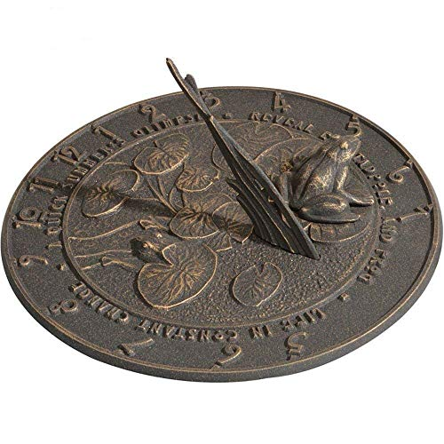 ANTIQUECOLLECTION Frog Sundial (Oil Rub Bronze)