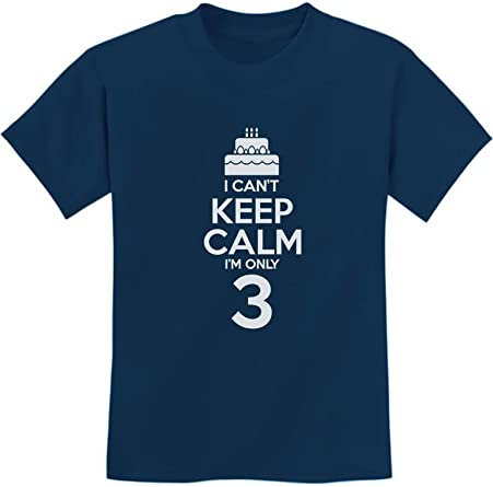 Birthday Cake I Cant Keep Calm Im 3 Kids Funny//Kids Girls Fitted T-Shirt
