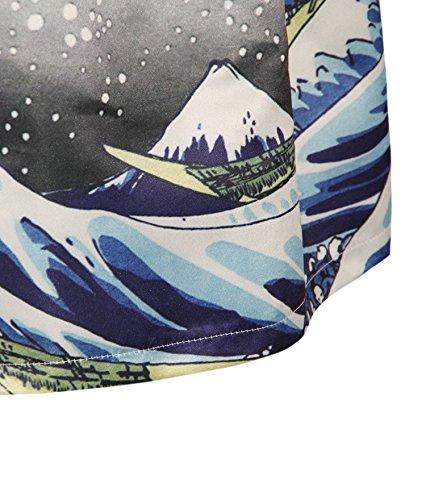 ZIOOER - Falda estilo casual con estampado digital y cinturilla elástica Sea Wave