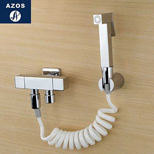 Azos Bidet Faucet Pressurized Sprinkler Head Brass Chrome Cold Water Two Function Washing Machine Pet Bath Toilet SquarePJPQ011B by AZOS