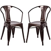 Costway Tolix Style Dining Chairs Industrial Metal Stackable Cafe Chairs w/ Curve Armrest Set of 2 (Copper)