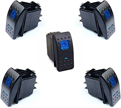 DCFlat 12v 20 Amp Waterproof Blue LED On/off Boat Marine Rocker Switch with Light ( 5 x Blue LED ) (5 (Boat Rocker Switches)