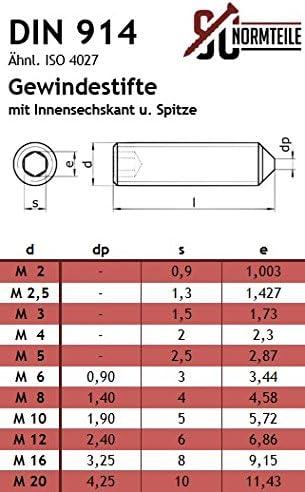 SC-Normteile Gewindestifte mit Innensechskant und Spitze - Madenschrauben V2A - aus rostfreiem Edelstahl A2 ISO 4027 DIN 914 M3x6 - - SC914 20 St/ück