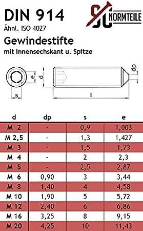 SC-Normteile DIN 914 - aus rostfreiem Edelstahl A2 ISO 4027 - SC914 - Madenschrauben M4x16 - V2A 25 St/ück Gewindestifte mit Innensechskant und Spitze