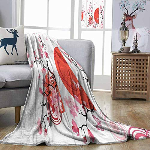 SONGDAYONE Polyester Blanket Nature Camping Blanket Cherry Blossom Illustration Abstract Sun Butterflies Festive Art Design Orange Pale Pink White W54 xL72