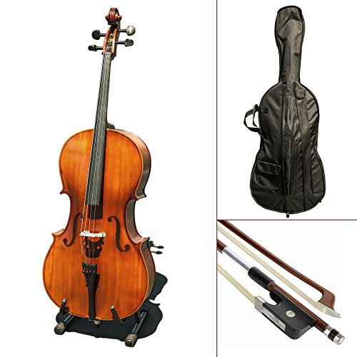 Paititi CE3005PE Scholar 256 Ebony Fitted Matte Finish Wood Cello with Soft Case, Brazilwood Bow, Rosin and Stopper (4/4) by Paititi