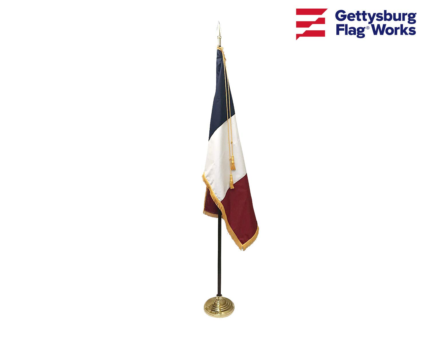 3x5' France Indoor Flag Set, Includes Indoor Flag, Base, Spear Finial and Decorative Cord and Tassel