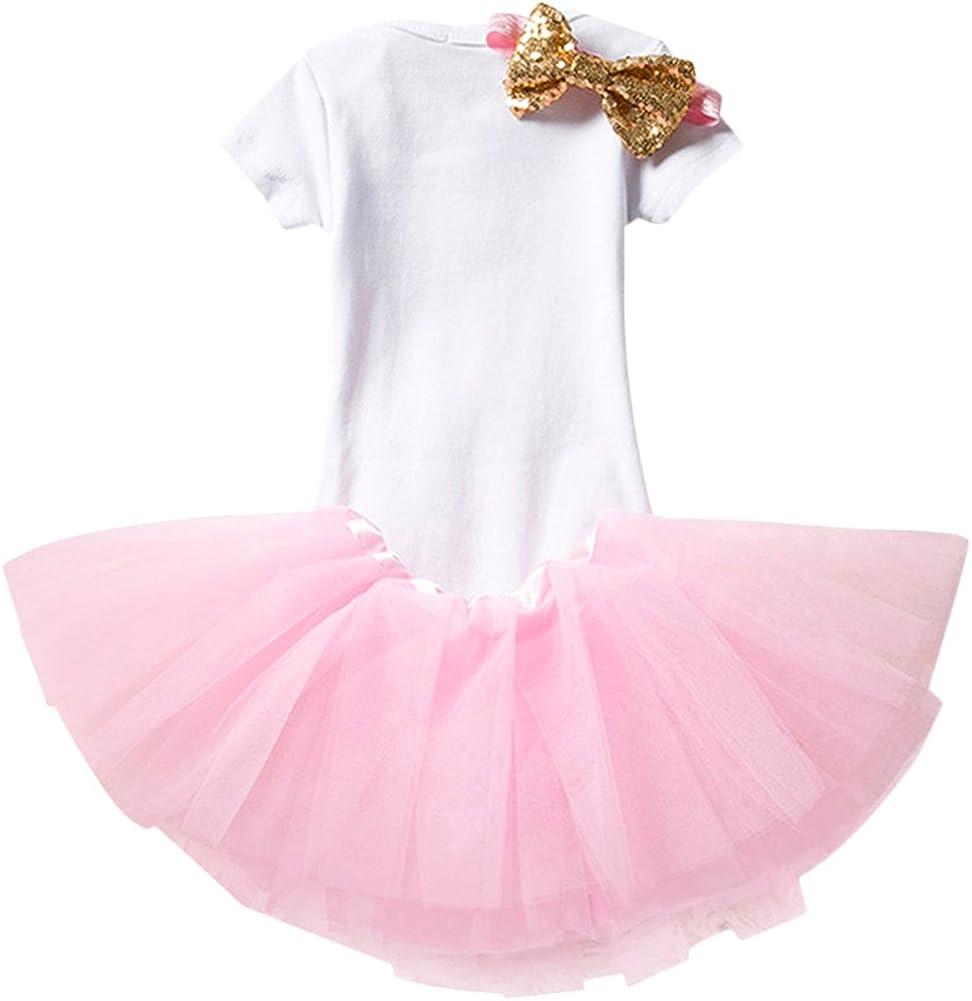 OBEEII Neonato Primo Compleanno Completini Pagliaccetto Fascia per Festa Carnevale Fotografico Abitini Costume per Prima Infanzia Principessa Tutu Gonna