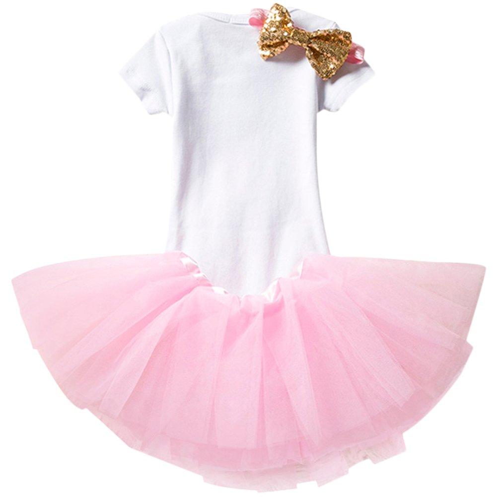 2/ème Anniversaire Princesse Bowknot Ensemble de 3PCs Barboteuse IWEMEK Nouveau-n/é B/éb/é Enfants Bambin Filles 1er Jupe Tutu Bandeau pour F/ête Anniversaire Costume de Photographie