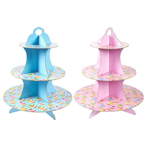 (2-Pack Cardboard Cupcake Stand - 3-Tiered Dessert Stand Cupcake Tower - Cupcake Tree Display for Baby Showers, Weddings, Birthdays, Blue and Pink, 11.7 x 13.5 x 11.7)