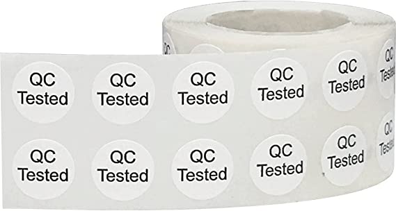 QC Qualit/ätskontrolle Aufkleber 13 mm 1//2 Zoll Kreis Etiketten 1000 Packung
