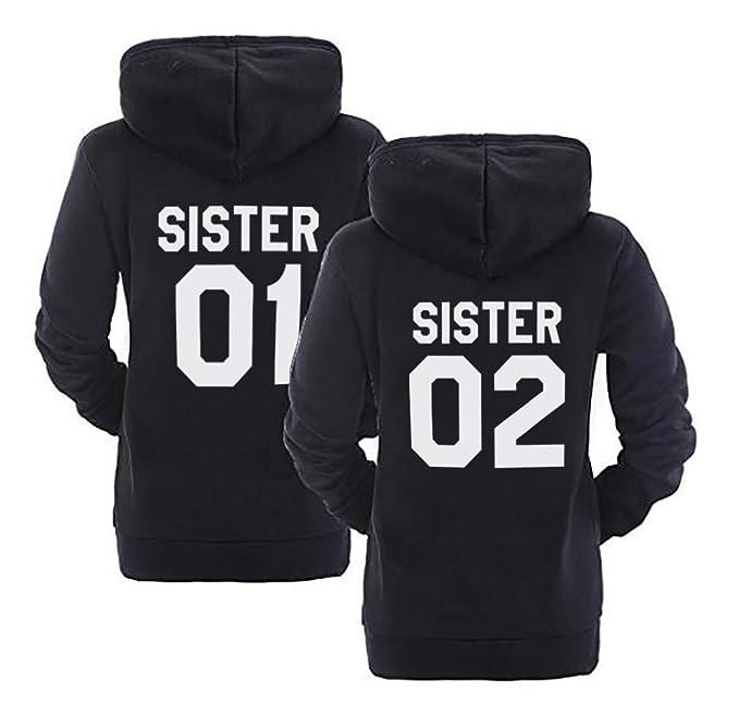 Best Friend Impresión Sudadera Sister Hoodies 2 Piezas Mejor Amiga Suéter con Capucha Manga Larga Encapuchado