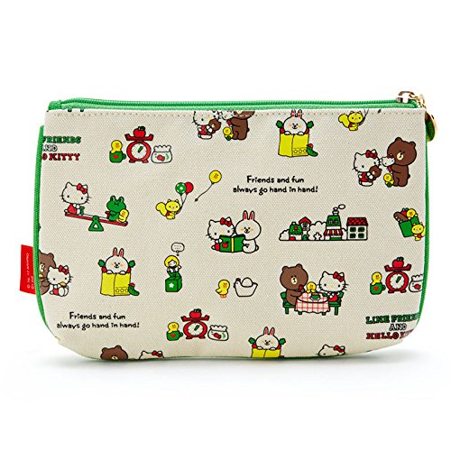 Sanrio LINE FRIENDS & Hello Kitty flat pouch Hello Kitty Town From Japan New by SANRIO