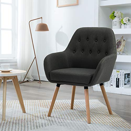 LSSBOUGHT Contemporary Stylish Button-Tufted Upholstered Accent Chair with Solid Wood Legs (Charcoal Gray)