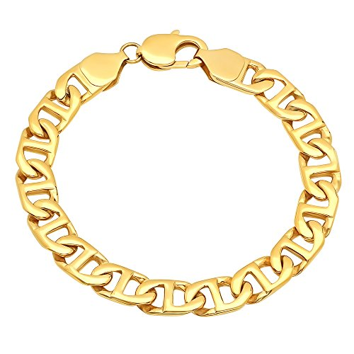 STEEL NATION JEWELRY Men's Stainless Steel Gold-Tone Flat Mariner Link Bracelet, 8.5-inches