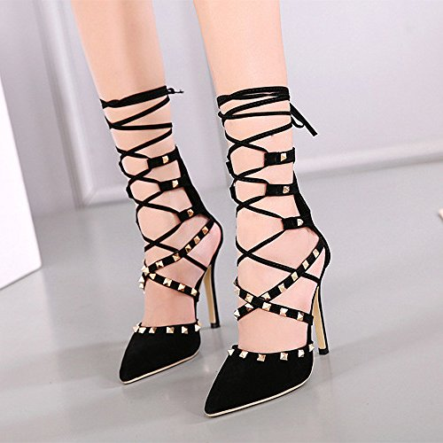 Talons Pompes Strappy Party Suede Femmes Robe Black Pointu Sandales Sangles Toe Rivets Stilettos w00Xq8fB