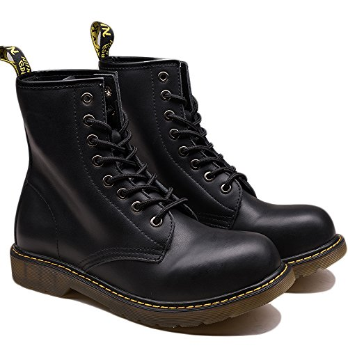 OUOUVALLEY Men's Lace-Up Genuine Leather Waterproof Combat Boots - stylishcombatboots.com