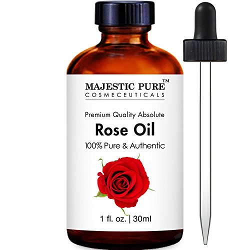 Rose Fragrance Oil (Majestic Pure Rose Oil Absolute, 100% Pure and Authentic, 1 Fluid)