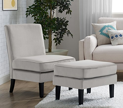 Elle Decor UPH10020A Elle Décor Olivia Chair and Ottoman, Accent, Gray