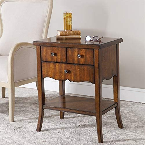 Uttermost Carmel Wood End Table in Pewter