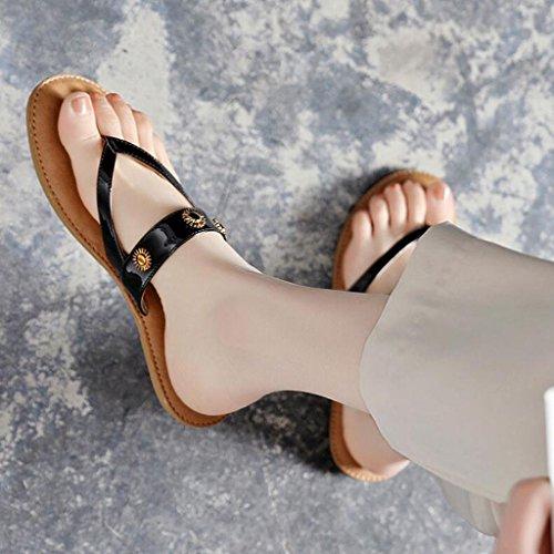 Femme Plat couleur Eu36 Black Flops Mode Extérieure Taille Non Été Flip Plage Pantoufles uk4 Xy® Clip Sandales Black Chaussures Talon slip cn36 Cool Pieds qwvTII