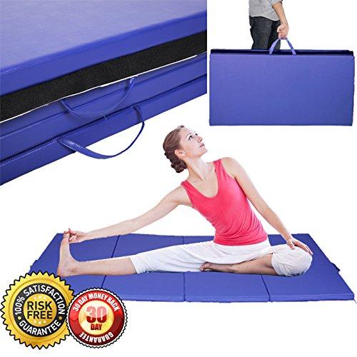 New 4'x10'x2″ Gymnastics Mat Gym Folding Exercise Mats Stretching Yoga Blue