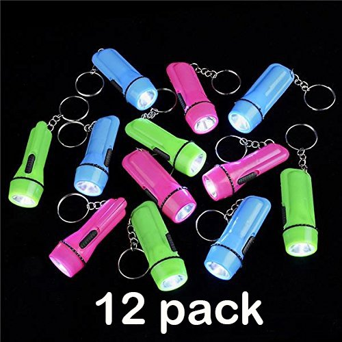 12 Pack Mini Flashlight Keychain 2 Inches Assorted Colors, Green, Light Blue And Pink, Batteries Included - For Kids, Party Favor, Goody Bag Filler, Gift, Prize, Pocket Size, Chain For Key - By Katzco