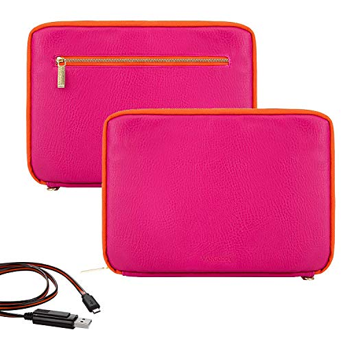 10 inch PU Leather Tablet Padded Zippered Sleeve for Apple iPad Mini 2019 iPad Air 2019 Magenta Orange USB Cable (Ipad Air Sleeves Best)