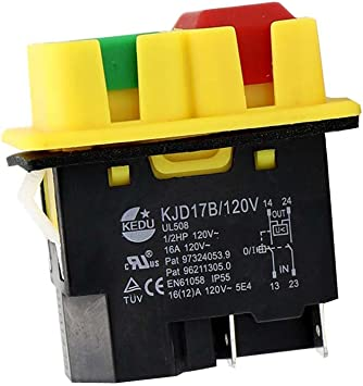 Kedu Kjd17b 4 Pins Electromagnetic Push Button Switch 120v 16a Waterproof Pushbutton Switches With Power Outage And Undervoltage Protection Functions 2no Kjd17b Amazon Com Industrial Scientific