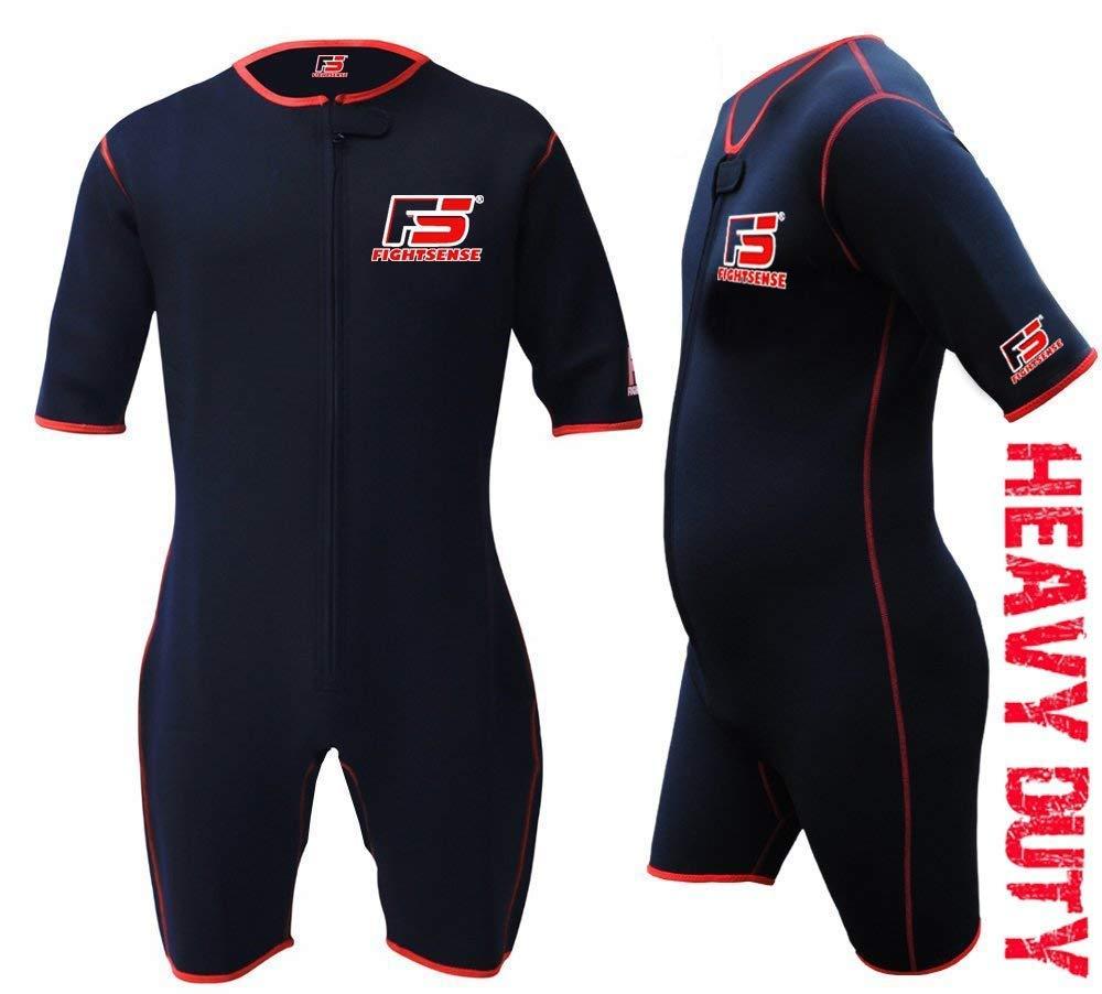 FIGHTSENSE Sauna Suit Neoprene Sweat Shirt Weight Loss Slimmimg MMA Fitness Gym Exercise Training (Black, Medium)