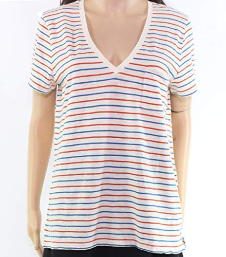 Madewell Heather Whisper Women's Stripe V-Neck Tee Knit Top Beige XL from Madewell