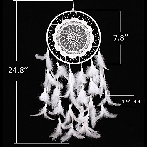 Malicosmile Handmade Dream Catchers, Wall Hanging Decoration with Feather Dream Catcher White (White Lace)