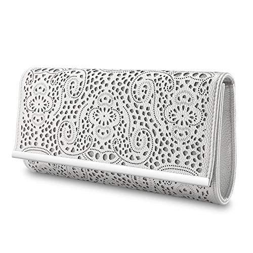 Womens Faux Leather Envelope Clutch Bag Evening Handbag Shouder Bag Wristlet Purse With Chain Strap. (silver-1)